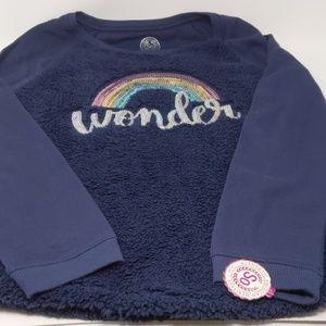 "Girls long sleeve ""Wonder"" fluffy shirt So size 16"